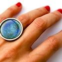 Tűzzománc nemesacél gyűrű - nemesacél gyűrű - tűzzománc gyűrű- kék és világosbarna színek - kék gyűrű - modern gyűrű, GALAXY GYŰRŰ  Gyönyörű színekben pompázó t...