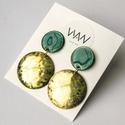 Arany türkiz - sárgaréz és tűzzománc fülbevaló - arany és kék színek - türkiz arany fülbevaló - kör alakú, Modern, ragyogó, feltűnő, elegáns fülbevaló!...