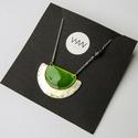 Tűzzománc és alpakka nyaklánc - ezüst és zöld színek - modern nyaklánc - zöld ezüst nyaklánc, Egyedi, kézzel készült ékszer! Feltűnő, eleg...