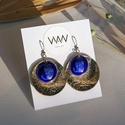 Alpakka és tűzzománc fülbevaló - ezüst és kék színek, Egyedi, kézzel fűrészelt, kör alakú tűzzomá...