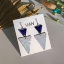 Tűzzománc - alpakka fülbevaló - ezüst és kék színek - ezüst kék fülbevaló - háromszög fülbevaló - tűzzománc, Egyedi, kézzel fűrészelt alpakka fülbevaló ma...