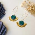 Sárgaréz fülbevaló kék tűzzománccal - arany és kék színek, Egyedi, kézzel készített sárgaréz fülbevaló...