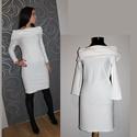 Fehér elasztikus kis ruha, kötött anyagű rátéttel, S/M méret, Ruha, divat, cipő, Női ruha, Ruha, Varrás, S/M méret  elasztikus anyagú, vállvillantós ruha, nyakrészén kötött rátéttel!  Az ujja 3/4 -es hoss..., Meska