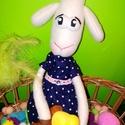 Húsvéti bárányka, Dekoráció, Játék, Dísz, Plüssállat, rongyjáték, Varrás, Ez a kis Bari hölgy már készül a húsvéti ünnepekre, ezért felvette pöttyös, kék ruháját is. :)  Tes..., Meska