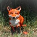 Foxy, a róka szobor várja új otthonát!, Dekoráció, Képzőművészet, Dísz, Szobor, Festett tárgyak, Szobrászat, A róka szobrom, amit kézzel formáztam, festettem levegőn száradó agyagból készült. Festés után lakk..., Meska