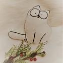 Simon's cat puha figura ajándék csomagolással együtt!, Játék, Dekoráció, Plüssállat, rongyjáték, Játékfigura, 21 cm magas, puha polár anyagból kézzel varrt, a körvonalakat fekete textilfestékkel festettem.  Ajá..., Meska