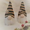 Karácsonyi/skandináv csíkos sapis manók, Játék, Játékfigura, Karácsonyi, adventi apróságok, Karácsonyi dekoráció, Lepd meg szeretteidet egy ilyen cuki manóval! :)  Sapi színe pezsgő/kék csíkos, csillogós, ál..., Meska