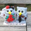 Esküvői, születésnapi tortadísz/ emléktárgy a Nagy napról!, Esküvő, Szerelmeseknek, Esküvői dekoráció, A képeken lévő bagolypárt egy nagyon kedves mennyasszony kérte az esküvői tortájára. :)  Ha bármilye..., Meska