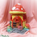 Vidám színekben pompázó gombaház/manóház+ ajándék LED gyertyával, Dekoráció, Otthon, lakberendezés, Képzőművészet, Baba-mama-gyerek, Ajándék LED gyertyával együtt! :) Ez a gombaházikó tökéletes dekorációja lehet a kertednek vagy a la..., Meska