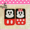 Akció! Leárazva!! Mickey és Minnie Mouse páros telefontok, Táska, Pénztárca, tok, tárca, Mobiltok, Most 1990Ft helyett 990Ft-ért megvehető készletkisöprés miatt!  Filcből kézzel varrott, szép hímzőcé..., Meska