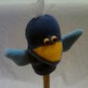 """kék madár, Baba-mama-gyerek, Játék, Báb, Készségfejlesztő játék, Kék plüssből a \""""boldogság\"""" madara.. 9cm-es., Meska"""