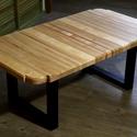 Egyedi industrial tömörfa asztal, Otthon & Lakás, Bútor, Asztal, Famegmunkálás, Tölgy, juhar és nyír társításából készült industrial stílusú dohányzóasztal / lerakóasztal. 115 cm ..., Meska