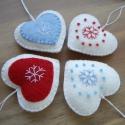 karácsonyfadísz, 4 db karácsonyi szívecske dísz filcből. kézze...