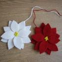 mikulásvirág karácsonyi dísz, 1 pár mikulásvirág karácsonyfadísz filcből, ...