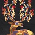 Csodaszarvas falitextil, Magyar motívumokkal, Képzőművészet, Textil, Központi darabja volt egy idei kiállításnak. Errel a gyönyörű  szarvasra  egy kifestőkönyvben talált..., Meska
