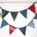 Zászló füzér, Dekoráció, Otthon, lakberendezés, Ünnepi dekoráció, Vidám dekorációja lehet a lakásnak és a  kertnek. Hossza: 250 cm, Meska