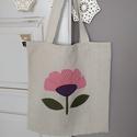 Virágos bevásárló  táska, Ruha, divat, cipő, Táska, Szatyor, Válltáska, oldaltáska, A táska lenvászonból készült és virágot applikáltam rá. Méret:40X44 cm Nem bélelt., Meska