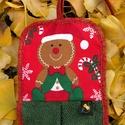 Kéztörlő karácsonyra, Otthon, lakberendezés, Lakástextil, A kéztörlő remek dísze a konyhának és fürdőszobának.  Praktikus méretű és formájú, dekoratív törülkö..., Meska