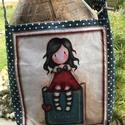 Válltáska kislánnyal, Minőségi, mintás vászonból készült válltá...