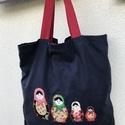 Nagy pakolós táska Matrjoska babákkal,  Vászonból varrtam a táskát, és Matrjoska bab...