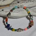Színes ásvány karkötő Buddha fejekkel, Ékszer, óra, Karkötő, Ékszerkészítés, Gyöngyfűzés, Színes ásványokból készült karkötő fém Buddha fejekkel.  Ásványok (3-4 mm-esek): - lápisz lazuli ch..., Meska
