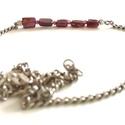 Gránát ezüst nyaklánc, Ékszer, Nyaklánc, Ezüst nyaklánc apró gránát ásványokkal (kocka: 5 mm, golyó: 2 mm).  Minden szerelék, és a lánc is va..., Meska