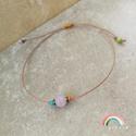 Rózsakvarc egyszál karkötő, Ékszer, Karkötő, Rózsakvarc ásványgolyó (6 mm), hematit korongok (4 mm) + színes üveggyöngy egyszál karkötő..., Meska