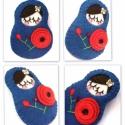 Matrjoska kitűző -Poppy, Matrjoska -baba kitűző, piros pipaccsal. Mérete...