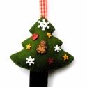 Kis-Karácsonyfa dísz, Sötétzöld gyapjúfilcből öltögettem ezt a ki...
