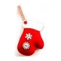Kesztyű -karácsonyfadísz, Piros gyapjúfilcből öltögetettem ezt pihe-puha...