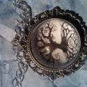 életfa nyaklánc, Ékszer, Nyaklánc, Nikkelmentes ezüstözött medálalap és méretben hozzáillő üveglencse. A medál mérete 3 cm, ..., Meska