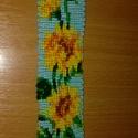 Virágos csomózott karkötő, Ékszer, Karkötő, Csomózás, Napraforgós csomózott karkötő. Rendelésre bármilyen virággal megcsinálom :)  A karkötő méretei: 4 c..., Meska