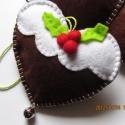 Fahéj-szegfűszeg illatú karácsonyi szivdísz , Dekoráció, Ünnepi dekoráció, Karácsonyi, adventi apróságok, Karácsonyi dekoráció, Mézeskalácsok hangulatát idézik fel az illatos karácsonyi díszítésű szívek. Vatelinnel tö..., Meska