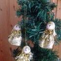 Aranyka angyalok, Dekoráció, Ünnepi dekoráció, Karácsonyi, adventi apróságok, Karácsonyi dekoráció, Ajándékkísérő, képeslap, Karácsonyfadísz, Mindenmás, Ezek a kis apró angyalkák aranyruhába öltöztek és így várják a karácsonyt!Szeretnék mosolygóssá és ..., Meska