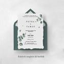 EUKALIPTUSZ Esküvői meghívó merített papíron, borítékkal, Greenery Wedding, Eukaliptusz stílus, kézzel merített papíron, k...