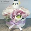 Baglyos virágdoboz ballagásra - 13 cm, Dekoráció, Dísz, Virágkötés, A közeledő ballagás alkalmából készítettem ezt a bájos virágdobozt. A doboz pasztell selyemvirágokb..., Meska