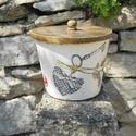 Vintage macaron és levendula mintás tároló doboz/cukortartó/kávétartó/keksz tartó, Különleges stílusú  vintage macaron és levend...