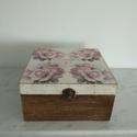 Vintage rózsás teafiltertartó doboz, Különleges stílusú  vintage rózsás teafilter...