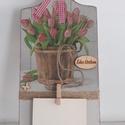 """Tulipán mintás üzenő tábla """"Édes otthon """" felirattal, Lakásod, konyhád dísze lehet ez a alapozással,..."""
