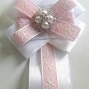"""Masni bross rózsaszín-fehér, Ékszer, Bross, kitűző, Masni bross Rózsaszín és fehér Mérete"""" 9x13,5cm, Meska"""