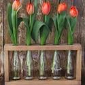 Virágtartó 5 üveggel 112_E, Otthon, lakberendezés, Esküvő, Kaspó, virágtartó, váza, korsó, cserép, Esküvői dekoráció, Tavaszi vidámságot árasztó virágtartó, egyszerűen kedves dísze lehet otthonunknak. Anyaga fa..., Meska