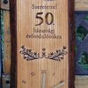 50. házassági évfordulóra fa falióra  D, Ékszer, Esküvő, Otthon, lakberendezés, Famegmunkálás, Dicséretre méltó 50 együtt töltött év emlékére méltó ajándék ez az arany gyűrűs falióra. Dekoráció ..., Meska