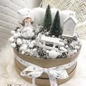 """""""Óriás""""Adventi koszorú - Adventbox, Dekoráció, Ünnepi dekoráció, Karácsonyi, adventi apróságok, Karácsonyi dekoráció, Mindenmás, Bézs dobozba épített """"nagy"""" adventi koszorú. Átmérő: 25cm   A különleges ünnepi hangulatért :)   Kö..., Meska"""