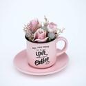 Kávés csésze vintage rózsával 9 cm, Dekoráció, Ünnepi dekoráció, Mindenmás, Virágkötés, Ezzel kávéscsészébe rejtett szép virággal kedveskedhetünk szeretteinknek :), Meska