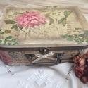 Vintage bőrönd, Otthon, lakberendezés, Tárolóeszköz, Doboz, A vintage stílust képviseli a képen látható bőrönd, ami decoupage technikával készült. Mé..., Meska