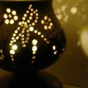 """Szitakötős  hangulatlámpa, Otthon, lakberendezés, Lámpa, Hangulatlámpa, Hangulatlámpa ami éjjel nappal szép. :) A lámpa alsó része porcelán, a """"lámpaernyőt"""" fehérre égő agy..., Meska"""