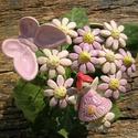 Tavaszi válogatás:), Dekoráció, Otthon, lakberendezés, Dísz, Fehérre égő agyagból készítettem ezeket az apró virágokat,pillangót,tündérkét..  A szett része 10 sz..., Meska