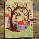 Falikép az  apró házak kedvelőinek. :), Otthon, lakberendezés, Ajtódísz, kopogtató, Falikép, Szeretem az apró házikókat,bármilyen természetes anyagból készüljenek, meghitt,otthonos hangulatot t..., Meska