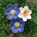 Tavasz, Dekoráció, Otthon, lakberendezés, Dísz, Fehérre égő agyagból készítettem ezeket a tavaszi virágokat.  Mázazott,kétszer égetett kerámiák. A  ..., Meska