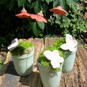 Óvó néniknek,dadusnak   szeretettel., Dekoráció, Otthon, lakberendezés, Dísz, Asztaldísz, .Fehérre égő agyagból készítettem ezeket a  virágokat.   .A teljes virágfej átmérője 4,5 cm.Zöld szí..., Meska